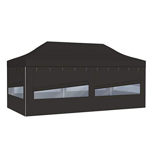 Vispronet Profi Faltpavillon Basic - 3x6 m in Schwarz - 4 Vollwände mit Panoramafenster - Scherengittersystem - Farbe & Größe wählbar