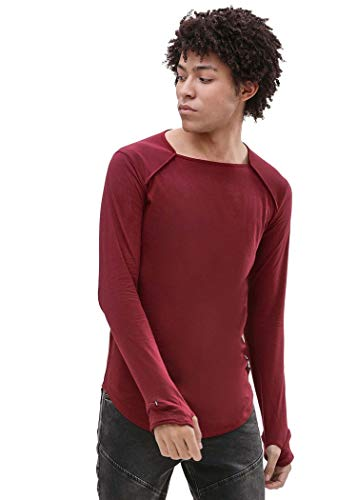 PAUSE Maroon Solid Cotton Square Neck Slim Fit Short Sleeve Men's T-Shirt