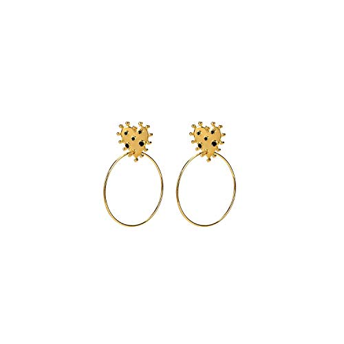 Exquisite elegance 2020 Personalized Black Red Enamel Dots Rock Gold Earrings Lady Women Heart Hollow Circle Summer Earring Golden-Black-