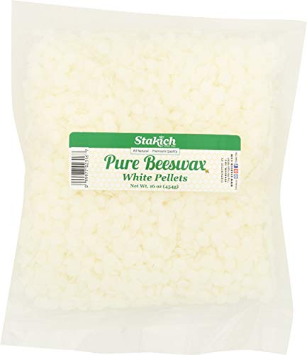 Stakich Pure White Beeswax Pellets, All Natural, Cosmetic Grade, Premium Quality (1 Pound)