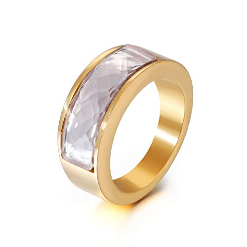 Sale!! Crystal Plain Ring Wedding Band Engagement Anniversary Jewelry Gift for Women Gold Tone