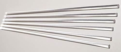 """6 Pieces 1 4"""" Diameter 12"""" Long Clear Acrylic PLEXIGLASS Lucite Plastic Rod .25"""