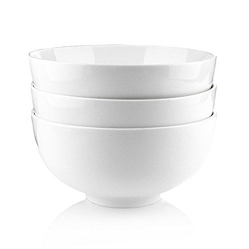 MALACASA, Serie Regular, 3-teilig CremeWeiß Porzellan Schäle Set 8 Zoll / 20 * 20 * 10cm / 1900ml Schüssel Suppenschüssel Müslischäle Salatschüssel Nudelschüssel