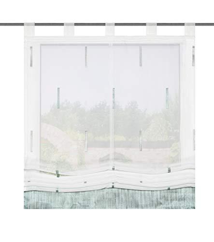 Home Fashion Schlaufenrollo Scherli Melange, Polyester, Mint, 140 x 120 cm