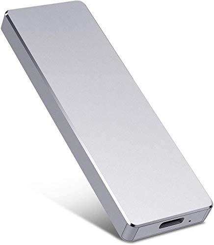 Disco rigido esterno portatile 1 TB 2 TB Disco rigido ultra sottile Disco rigido esterno USB 3.1 Disco rigido per Mac, PC, laptop (1TB, Silver)