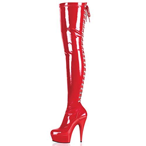 Higher-Heels PleaserUSA Overknee-Stiefel Delight-3063 Lack rot/rot Gr. 43