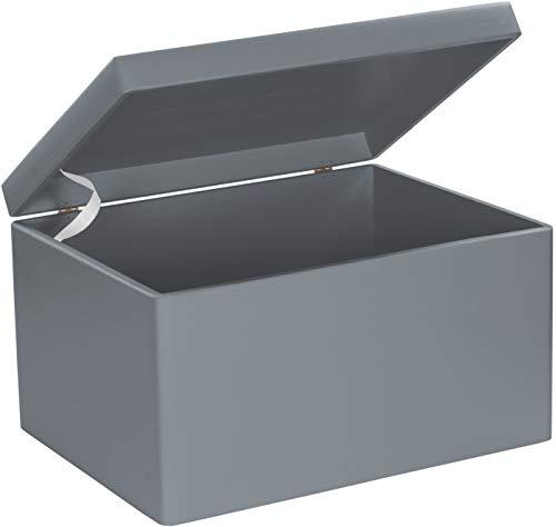 LAUBLUST Große Holzkiste mit Deckel - 40x30x24cm, Grau, FSC® | Allzweck-Kiste aus Holz - Aufbewahrungskiste | Geschenk-Verpackung | Deko-Kasten zum Basteln | Spielzeug-Truhe | Erinnerungsbox