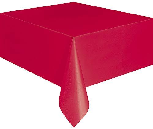 Unique Party 4070520 Einweg-Tischdecke aus Kunststoff, rot
