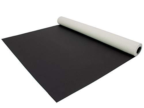 PVC Bodenbelag EXPOTOP Profi Vinylboden - 2,00m x 1,50m, Uni Schwarz PVC Boden Meterware Vinyl, Reflektiert Nicht, Einfarbig, Schwer Entflammbar