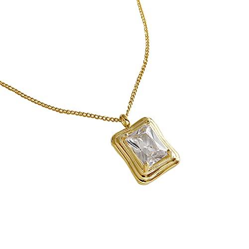 ShSnnwrl Colgante Collar de circón Cuadrado de Plata 925, Collar de Cadena de Oro geométrico de Moda para Mujeres, joyería Fina,