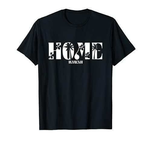 Hawaii Home - Plumeria de palma con diseño de corte Camiseta