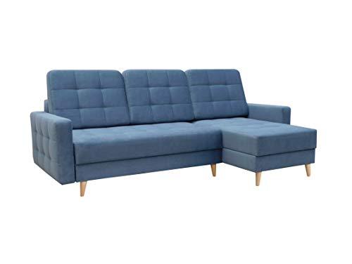 Ecksofa mit Schlaffunktion mit Bettkasten Sofa Couch L-Form Polstergarnitur Wohnlandschaft Polstersofa mit Ottomane Couchgranitur - LESLO I (Blau, Ecksofa...