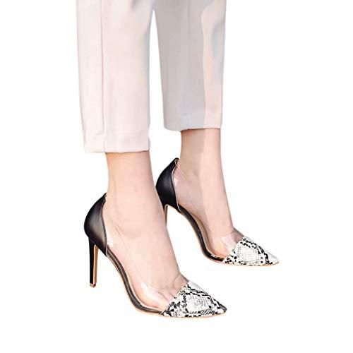 HILOTU Damen Freizeit High Heels Modische Glänzende Farbe Schlangenmuster Party Sandalen Spring Summer Urban All-Match-Sandalen Im Pull-On-Stil (Color : Weiß, Size : 39 EU)