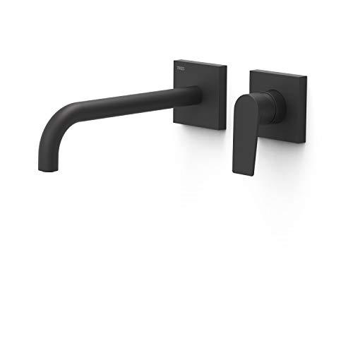 Grifo monomando empotrado para lavabo, gama Project-Tres, con amortiguadores acústicos y caño de 240 milímetros, 31,4 x 19,4 x 7,4 centímetros, acabado negro mate (referencia: 21130002NM)