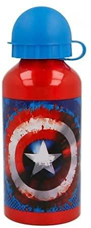 Borraccia Scuola Bottiglia Sport in Alluminio per Bambini 400ml con beccuccio retraibile (Avengers Capitan America Supereroi)