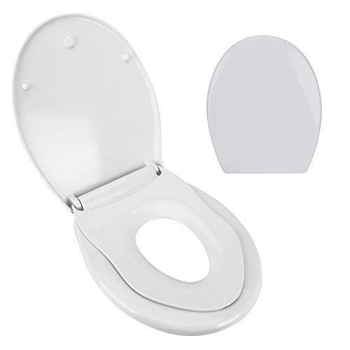 WC Sitz Toilettendeckel Oval Klodeckel mit Softclose Kinder Toilettensitz mit Quick-Release WC Deckel Family Duroplast Toiletten Klobrille Weiß