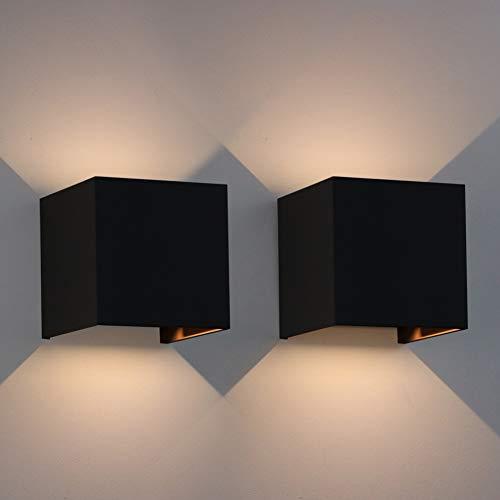 Klighten 2er Pack Wandleuchte, moderne Außenwandleuchte, warmweiß, einstellbarer Lichtstrahl, 7W, schwarz