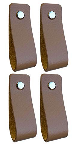 Tiradores de Cuero | Gris Pardo / 4 piezas | 16,5 x 2,5 cm | Piel de Granos | 3 tornillos de color - tiradores para Accesorio de Mobilario, armario, cajón, puerta