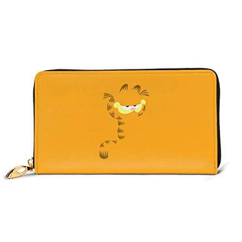 XCNGG Cartoon Garfield Wallet Blocking Echtes Leder Wallets Double Zip Wallet Organizer Clutch Bag Kreditkartenhalter Große Kapazität Geldbörse Handytasche Für Männer Frauen