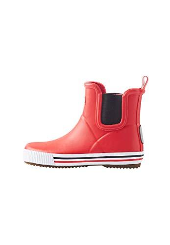 Reima Kinder Gummistiefel Ankles Red – Gefütterte knöchelhohe Gummistiefel für Kinder – Wasserdichte Regenstiefel für die Stadt mit 40% natürlichem Gummi und Baumwollfutter – Vegan – Größe 33