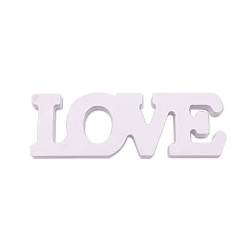 TOYANDONA Love Madera Letras Decoración para Fiesta de Boda (Blanco)