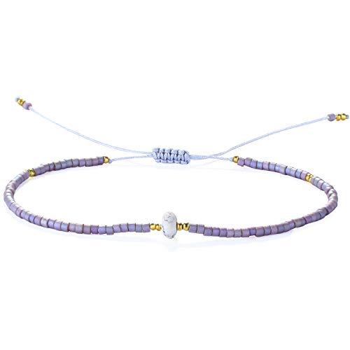 KELITCH Bracelets for Womens Men Japanese Seed Beads Delicate Stone Friendship Bracelets Handmade Adjustable String Bangle Charm Bracelet (Purple)