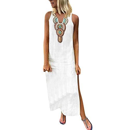 Tosonse Vestidos Africanos para Mujer Vestido Largo Sin Mangas con Dobladillo Dividido Vestidos De Playa Holgados
