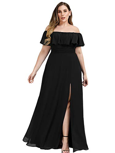 Ever-Pretty Women's Plus Size Off Shoulder Side Split Chiffon Maxi Dress 0968PZ