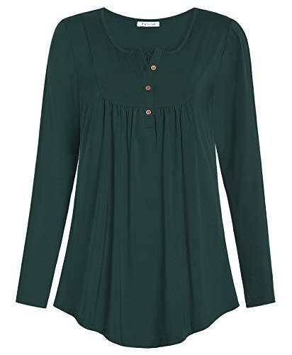 Esenchel Women's Long-Sleeve Flowy Tunic Blouse Top for Leggings 2X Forest Green