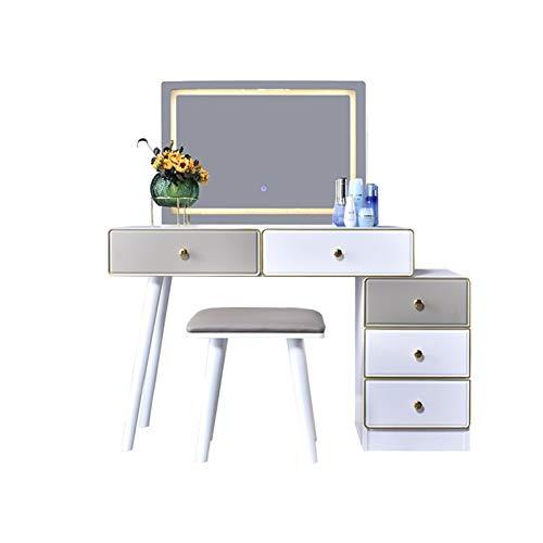 JIACTOP Set de Maquillaje de vanidad Dormitorio de tocador Dormitorio Simple Modern Threams Threell Mirror y 5 cajones Muebles prácticos