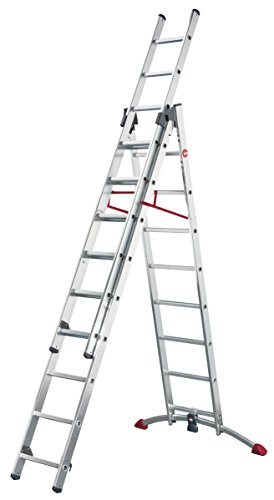 Hailo 9309-501 Superior Quality Profi Combination Ladder with 2 x 9 Plus 1 x 8 Rungs