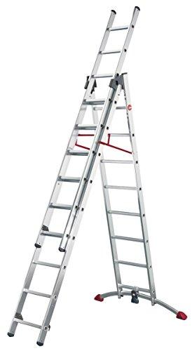Hailo ProfiLOT.3 - Escalera industrial 3 tramos de aluminio con estabilizador curvo LOT-SYSTEM (3 x 9 peldaños)