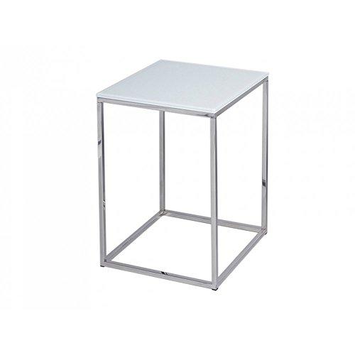 Gillmore Space Verre Blanc Table Basse carré d'Argent métal Contemporain