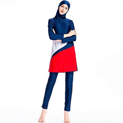 Lazzboy Frauen Muslimischen Badeanzug Mit Kappe Volltonfarbe Beachwear Bademode Muslim Zurückhaltenden Bescheidenheit Jumpsuit Hijab Full-Cover Islamischen Badeanzüge(Blau,2XL)