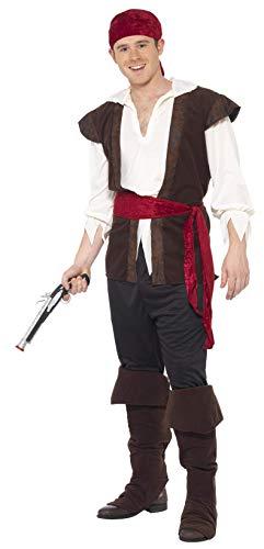 Smiffys, Herren Piratenkostüm, Kopftuch, Oberteil, Hose, Gürtel und Überstiefel, Größe: L, 20469