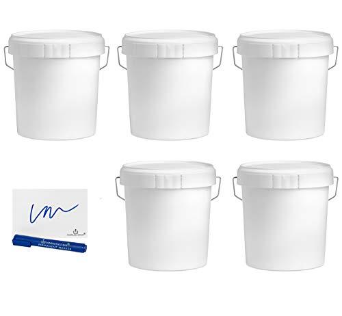 MARKESYSTEM - Cubo VACIO INDUSTRIAL Pack de 5 x 4,6 litros - Contenedores Hermeticos de Plástico con Tapa - Almacenaje de Sólidos, Líquidos y Pinturas - Polipropileno Blanco + Kit Etiquetado
