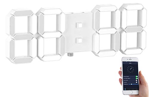 Lunartec Digitale Wanduhr: Dimmbare LED-Tisch- & Wanduhr, Temperatur-Anzeige, Wecker, App, 37 cm (LED-Uhr-Wecker)