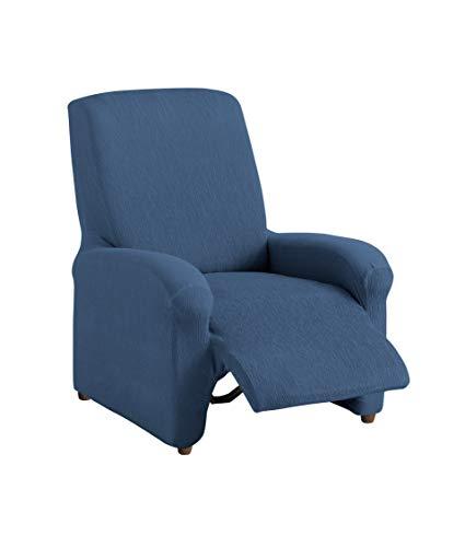 Textilhome - Copripoltrona Relax Reclinabile TEIDE Elasticizzato, Taglia 1 Posto - 70 a 100 cm - Poltrona Protettiva. Colour Blu