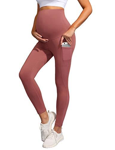 Maacie Premamá Pantalones Largos Ajustados de Maternidad con Cintura Alta M Rojo Indio