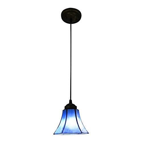 LITFAD 6 Inch Bell Shade Pendant Lamp Tiffany Blue Stained Glass One-Light Mini Pendant Lighting Art Decoration Ceiling Hanging Light for Kitchen Living Room Barn Restaurant