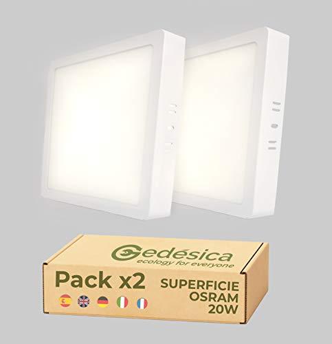 PACK X2, Lamparas de techo, Plafon Led techo, 20W 2480LM, 210mm cuadrado superficie, downlight led techo, Dormitorio, Salón, Pasillo, Cocinas, Clase eficiencia energetica A++ (4000K-luz blanca neutra)