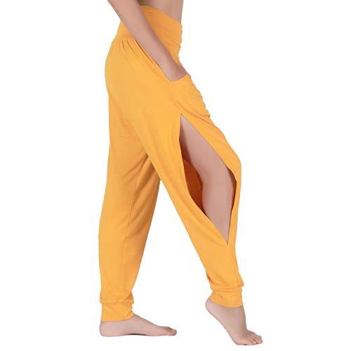Lofbaz Yogahosen für Frauen Workout Leggings Subtiler Schlitz Schweiß Jogger Damen Kleidung Jogginghose Kleidung Harem Pyjama Gelb L