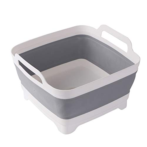 9L 24Gallon Dish Basin Collapsible with Drain Plug Carry Handles Space Saveing Kitchen Storage Tray Dish Wash Basin Portable Dish Tub Foldable Dishpan for Camping Portable Dish WashingGray