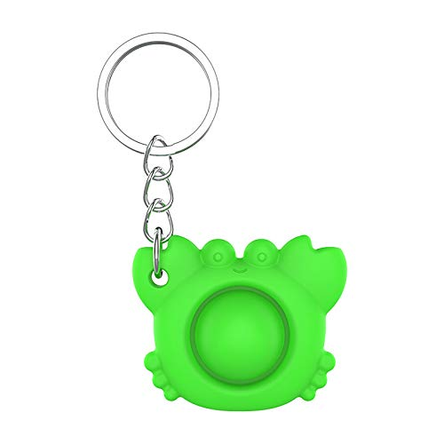 XISELITR Popular Simple Dimple Keychain Toy,for Kids Adults Stress Relief Toy Keychain Key Ring Pendant,Relieve Office Anxiety and Autism. (Crab-Green)
