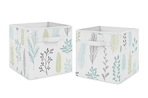 Sweet Jojo Designs - Cajas de almacenamiento plegables de tela azul, diseño de hojas tropicales azules para niños, juego de 2 unidades, para la colección de perezosos de selva tropical