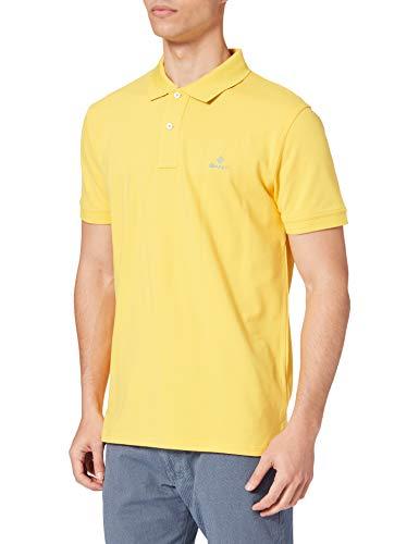 GANT Herren Contrast Collar Pique SS Rugger Polohemd, SOLAR Power Yellow, XL