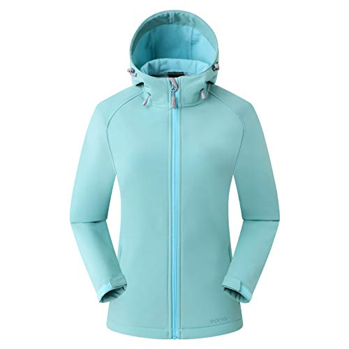 Amazon Marke: Eono Essentials Damen-Softshell-Jacke mit Kapuze, Übergangsjacke - Large, Grün