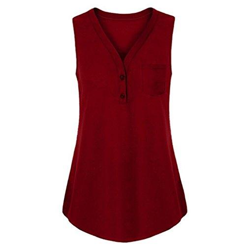 MRULIC Crop Tops Damen Button Ärmelloses T-Shirt Coole Weste Bluse(Weinrot,EU-48/CN-4XL)