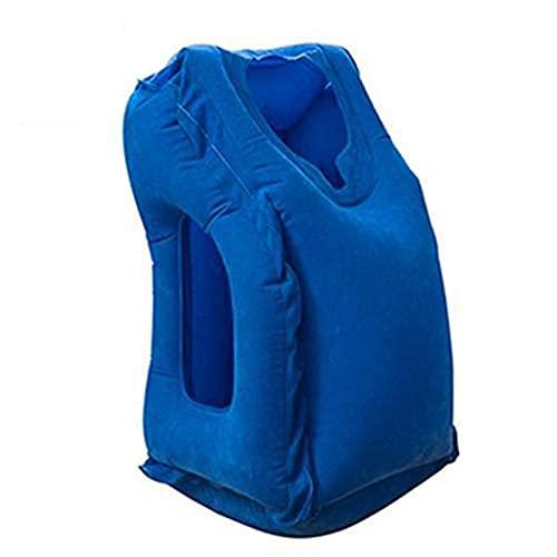 SASAU Bolsa de Dormir de Viaje Inflable Almohada de Cuello de cojín portátil para Hombres Tren de Vuelo de avión al Aire Libre El Dormir fácil (Color : Blue)
