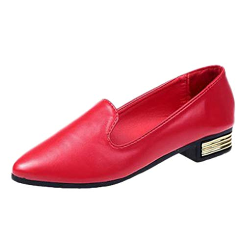 Lonshell Damen Pointed Toe Halbschuhe Slipper Pumps Elegant Leder Loafers Freizeitschuhe Casual Low Heels Einzelne Schuhe Walkingschuhe Arbeitsschuhe